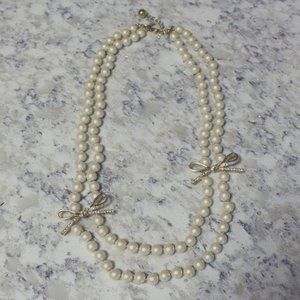Kate Spade Pearl Double Strand Necklace Bows